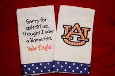 "Auburn  ""Sorry For Spittin' Up....""  Burp Cloth Set on Etsy, $15.00"