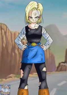 Android 18 Battle Damaged by ~kingvegito on deviantART