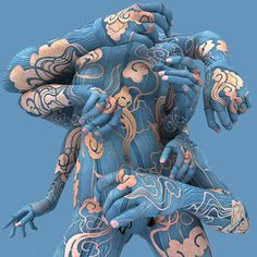Blue Body Art.
