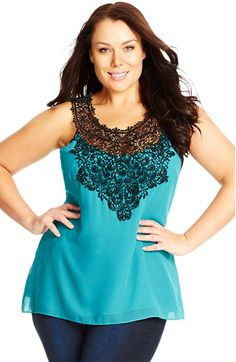 2118bfe019b9a City Chic  Mingle  Lace Appliqué Sleeveless Top (Plus Size)