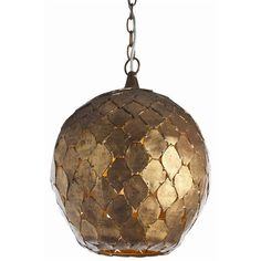 "Osgood Pendant; gold leaf on iron; h:16"", diam: 14"". 150 watts max."