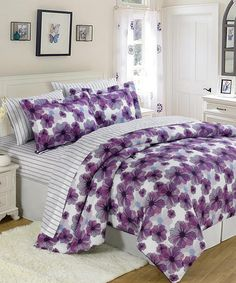 Purple & White U.S. Polo Floral Bed-in-a-Bag Set