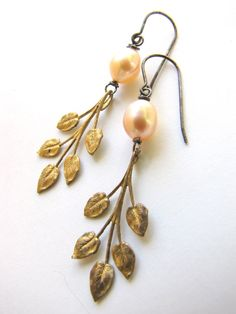 Wedding Earrings - Vintage Pearl Jewelry - Leaf Brass Sterling Silver