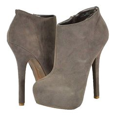 Doll House Hustler Taupe Faux Suede Women Ankle Boots ($45) ❤ liked on Polyvore featuring shoes, boots, ankle booties, high heel boots, faux suede ankle boots, high heel ankle booties, high heel platform boots and faux suede booties