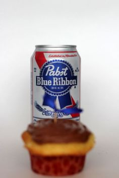 Pabst Blue Ribbon Beer Cupcake - Just made these. They are delicious!