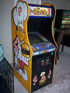 Vintage 1982 Midway Burger Time Stand Up Cabinet Arcade Game