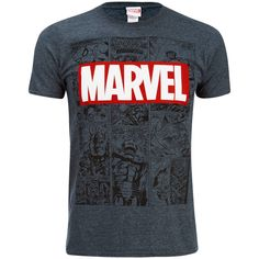 Marvel Men's Mono Comic T Shirt Dark Heather