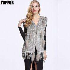 Fashion Real Knitted Rabbit Fur Vest Hook Lady Tassel Gilet Coat Cute