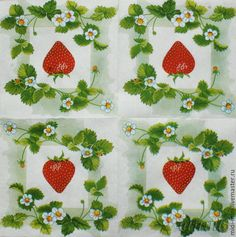 Купить салфетки декупаж садовая клубничка земляничка - разноцветный, салфетки декупажные, клубника клубничка