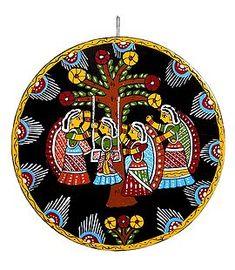 Teej Festival - Wall Hanging (Tikuli Painting on Hardboard) Madhubani Art, Madhubani Painting, Teej Festival, Hanging Plant Wall, Hanging Paintings, Indian Folk Art, Wedding Wall, Indian Art Paintings, Art Lessons For Kids