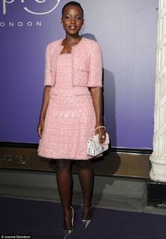 Lupita Nyong'o in Chanel couture dress, Chanel bag, Christian Louboutin shoes - British Academy Film Awards (BAFTA) nominees dinner at Asprey London on Bond Street, London. Lupita Nyongo, Mexican Actress, Poppy Delevingne, Beige Coat, Vogue, Glamour, Pink Candy, Red Carpet Fashion, Star Fashion