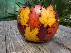 Painted Gourd Art Bowl Fall Home  Autumn by NatsKreations on Etsy, $51.95
