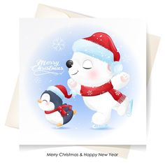 Cute polar bear and penguin for christm... | Premium Vector #Freepik #vector Christmas Snow Background, Merry Christmas Banner, Christmas Icons, Merry Christmas And Happy New Year, Christmas Gift Tags, Christmas Decorations, Christmas Ornaments, Christmas Illustration, Cute Illustration