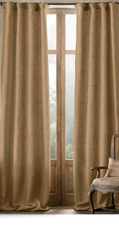 Pair of Linen Burlap Curtains