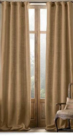 Pair of Linen Burlap Curtains