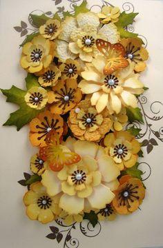 Crafty Urchins: Jane's work of art + 2 using Tim Holtz Tattered Florals die Handmade Flowers, Diy Flowers, Fabric Flowers, Paper Flowers, Paper Art, Paper Crafts, Paper Flower Tutorial, Heartfelt Creations, Tim Holtz