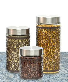 Circle Design Glass Canister Set