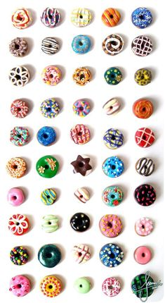 Colorful Donuts - by ~SweetDeco on deviantART. For some reason I love making miniture food! It's so small