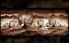 longboats arriving