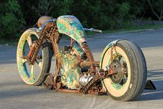 The custom rat rod for built by After Hours Bikes. Rat Rod Motorcycle, Steampunk Motorcycle, Futuristic Motorcycle, Motorcycle Memes, Motorcycle Paint, Custom Choppers, Custom Harleys, Custom Motorcycles, Custom Bikes