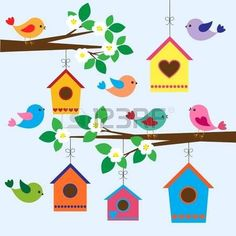 Birdhouses in spring. Colorful birds and birdhouses in spring , Diy And Crafts, Crafts For Kids, Paper Crafts, Decoration Creche, Birthday Charts, Spring Birds, School Decorations, Window Art, Cute Birds