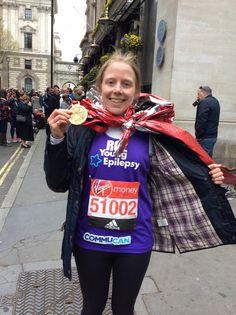 Roz sporting her Virgin London Marathon 2016!