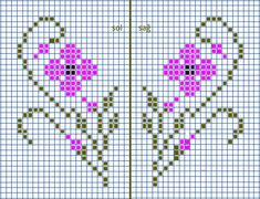 Patik desen Tiny Cross Stitch, Cross Stitch Borders, Cross Stitch Flowers, Cross Stitch Charts, Cross Stitching, Cross Stitch Embroidery, Embroidery Patterns, Cross Stitch Patterns, Knitting Patterns