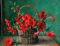 Basket of hibiscus by Margaret Olley Australian Painters, Australian Artists, Art Floral, Decoupage, National Art, Classic Paintings, Still Life Art, Oui Oui, Hibiscus