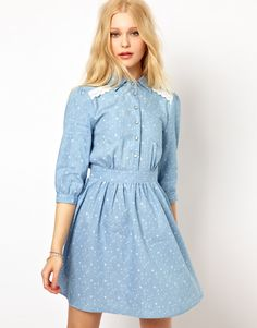 Sugarhill Boutique Denim Shirt Dress in Cosmic Print  // asos