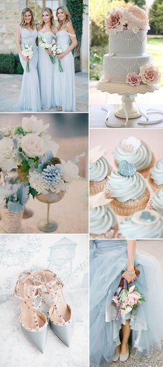 light pastel blue wedding theme ideas 2016