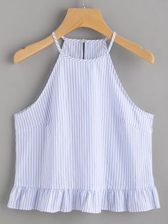 Shop Buttoned Keyhole Back Frill Striped Halter Top online. SheIn offers Buttoned Keyhole Back Frill Striped Halter Top & more to fit your fashionable needs.