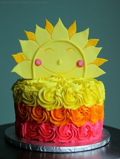 This is a inspired 'my little sunshine' cake that I made for a friends two year old daughters birthday. 1st Birthday Foods, Girls Birthday Party Themes, Little Girl Birthday, Baby Birthday, First Birthday Parties, First Birthdays, Birthday Ideas, Sunshine Birthday Parties, Sunshine Cake
