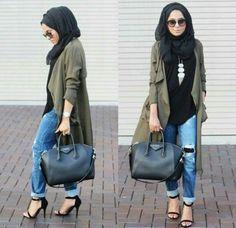 green cardigan hijab look, Fall stylish hijab street looks  - Hijab Fashion http://www.justtrendygirls.com/fall-stylish-hijab-street-looks/