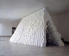 Intervention#10, view at Boijmans Van Beuningen Museum, Rotterdam. Styrofoam blocks, wooden structure, 2009