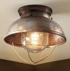 Vintage-antique-Weathered-Copper-Ceiling-Lodge-Rustic-Light-fixture-western