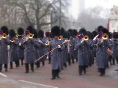 Coldstream and Welsh guards returning from Changing of the guard at Buckingham Palace, London. Uk