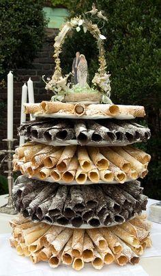Krumkake wedding cake by Heidi Swartz (Awesome idea!)