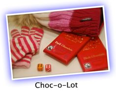 CHOC-O-LOT: This party game is hysterical to watch, and brilliant to be part of!  It's cool for a sleepovers, Christmas, Thanksgiving and for family eve...