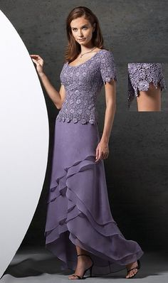 mother of the bride: fresh lavender; chiffon cascading s… mother of the bride: fresh lavender; Mother Of The Bride Dresses Long, Mothers Dresses, Mother Bride, Mob Dresses, Nice Dresses, Short Dresses, Dressy Dresses, Bridal Dresses, Summer Dresses