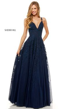 Sherri Hill - 52342 Beaded Lace Deep V-neck Long A-line Dress – Couture Candy Vestido Sherri Hill, Sherri Hill Prom Dresses, Grad Dresses, Prom Dresses Blue, Homecoming Dresses, Bridesmaid Dresses, Formal Dresses, Pageant Dresses, Quinceanera Dresses
