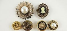 6 VINTAGE GOLD TONE METAL ORNATE BUTTON COVERS-CAMEO & FAUX PEARL CENTERS