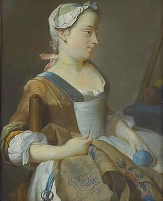 Jean-Etienne Liotard 18th C Young Girl Embroidering Note: her earrings appear to be a ball/jewel of some sort on an ear wire, her necklace looks like beads on a pink ribbon.