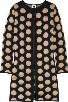 Polka-dot fine-knit cardi-coat
