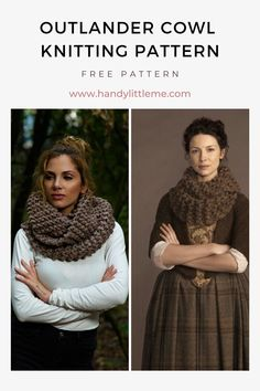 Outlander Cowl Knitting Pattern. Claire's cowl knitting pattern for all of you time travelling sassenachs! Make a beginner-friendly cowl inspired by the Outlander TV series, as worn by character Claire Fraser. #cowl #outlander #knitting #knittingpatterns #outlanderknits #outlandercowl #clairecowl #outlanderknittingpatterns