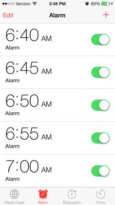 Quadruple-checking whether or not you set your alarm... and setting multiple at a time #yup
