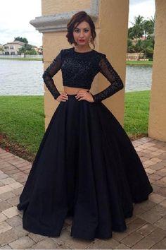 4823df77c39d9 Floor length Prom Dresses, Black Floor-length Prom Dresses, Floor-length  Two Piece Prom Dresses, Long Sleeves Two Pieces Plus Size Prom Dresses For  Teens ...