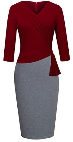HOMEYEE Women's Elegant Patchwork 3/4 Sleeve Wear to Work...