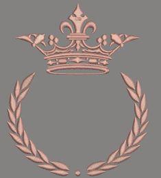 Design de broderie Couronne et laurel wreath Embroidery Needles, Hand Embroidery, Machine Embroidery, Embroidery Dress, Embroidery Designs, Crown Drawing, Laurel Wreath, Lettering Styles, Logo Design