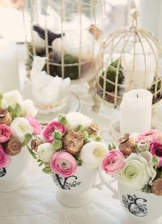 These cute little pink and white ranunculus  arrangements for a Valentine's Day table   gave me a few ideas...