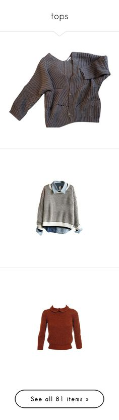 """""""tops"""" by lainalovies ❤ liked on Polyvore featuring tops, cardigans, sweaters, jackets, grey, wool tops, maje top, gray top, grey cardigan and gray cashmere cardigan"""